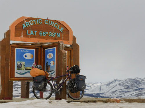 Arkel Dolphin panniers, handlebar Bag and Old Man Mountain Racks in the Artic Circle.