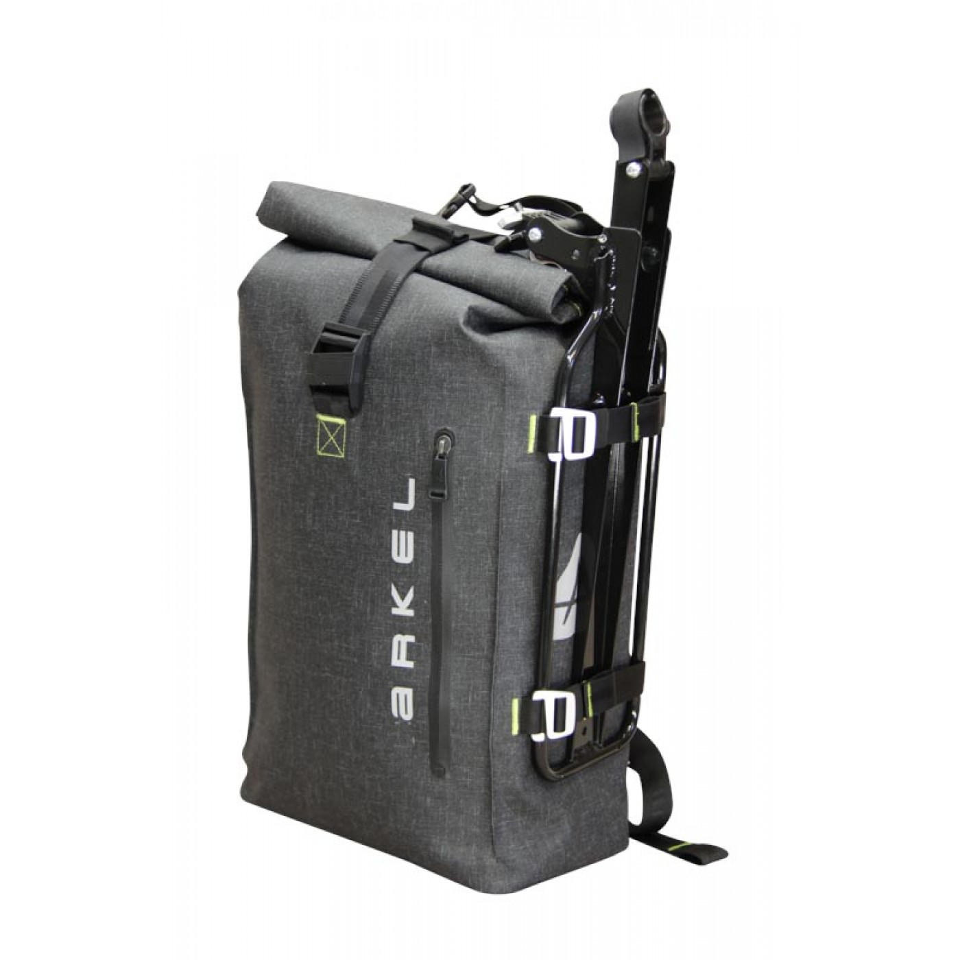 Arkel Drypack cycling backpack with Randonneur Rack® · The Randonneur Rack  can be carried off the bike with the side compression straps 500651d445c60