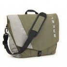 Briefcase laptop pannier in olive/grey color with shoulder strap
