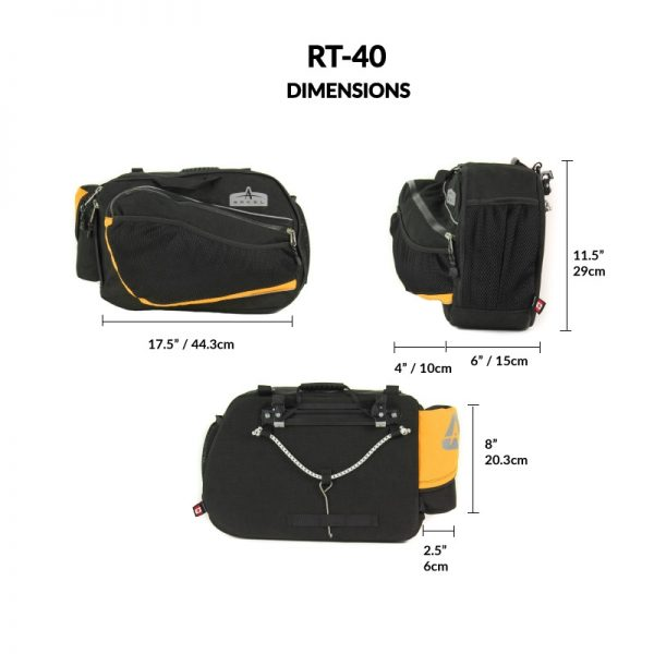 Dimensions of the RT-40 Recumbent Panniers