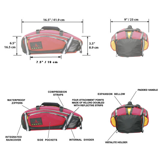 Arkel TailRider Trunk Bag Dimensions