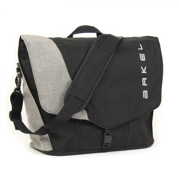 Briefcase laptop pannier in black/grey color with shoulder strap
