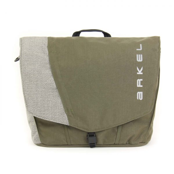 Briefcase pannier in olive/grey color
