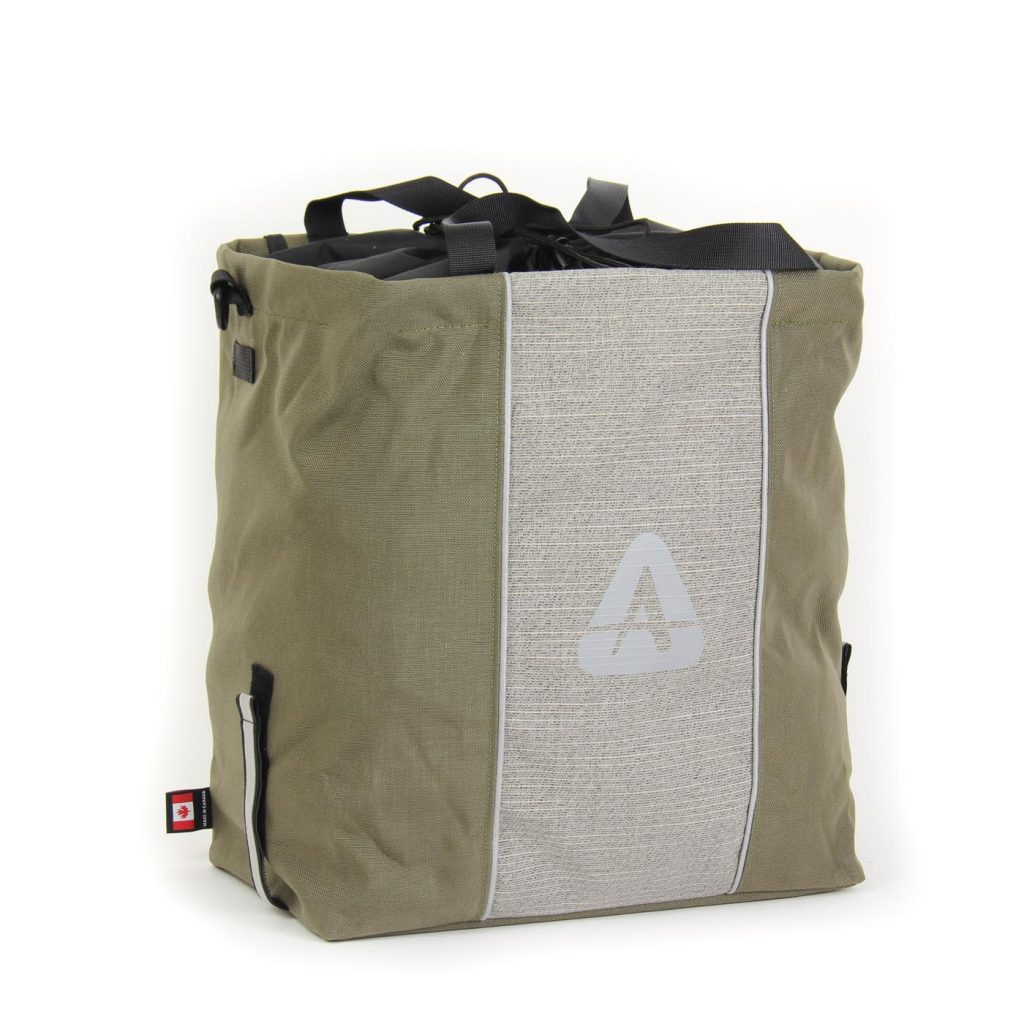 The Shopper pannier in olive/grey color