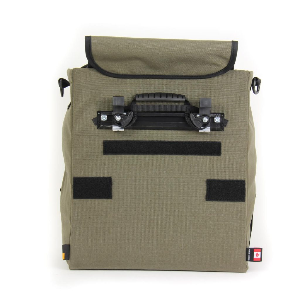 The pannier is secured to the rack with our patented Cam-Lock mounting system
