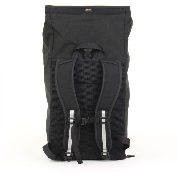Signature D bike backpack fully opened backside view