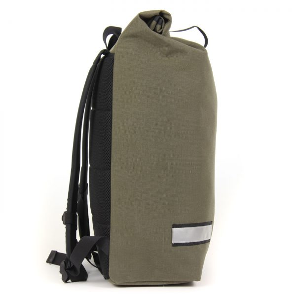 The Signature D laptop cycling backpack side view