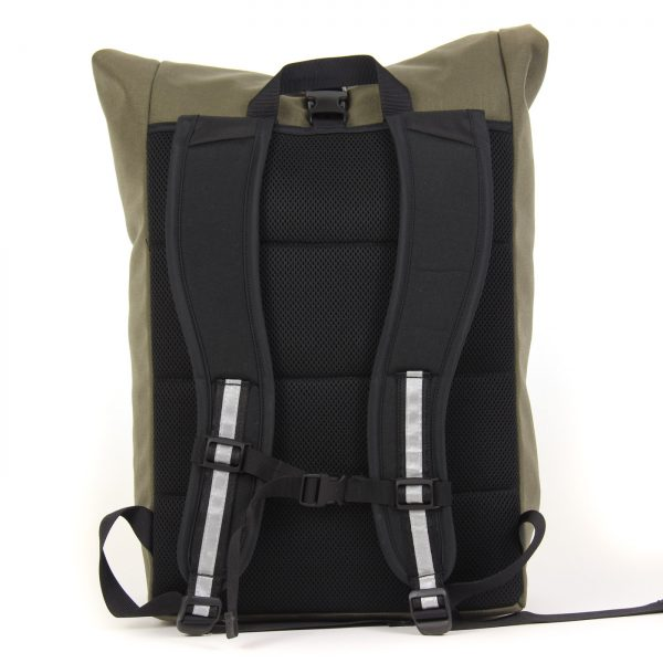 This bike backpack has a comfortable harness and padded back.