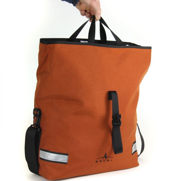 Arkel Signature H bike pannier with comfortable shopping bag type handles.