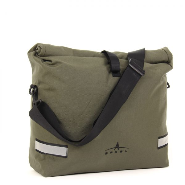 Arkel Signature H waterproof urban laptop bike pannier in olive with shoulder strap