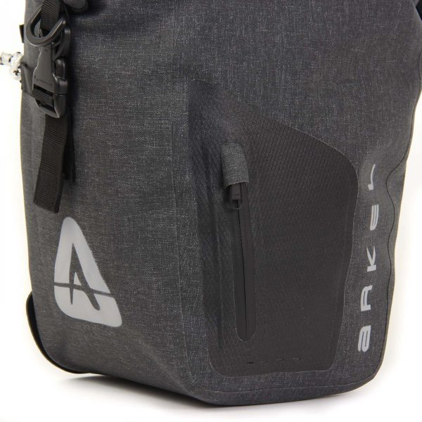 ORCA 25 waterproof panniers have a front zippered pocket