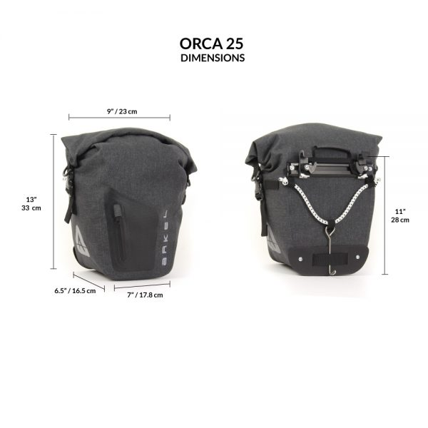 ORCA 25 Front or Rear Waterproof Bike Panniers (pair)-2169