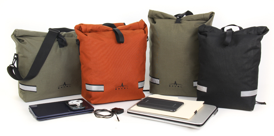 Arkel Signature Series waterproof laptop panniers and backpacks