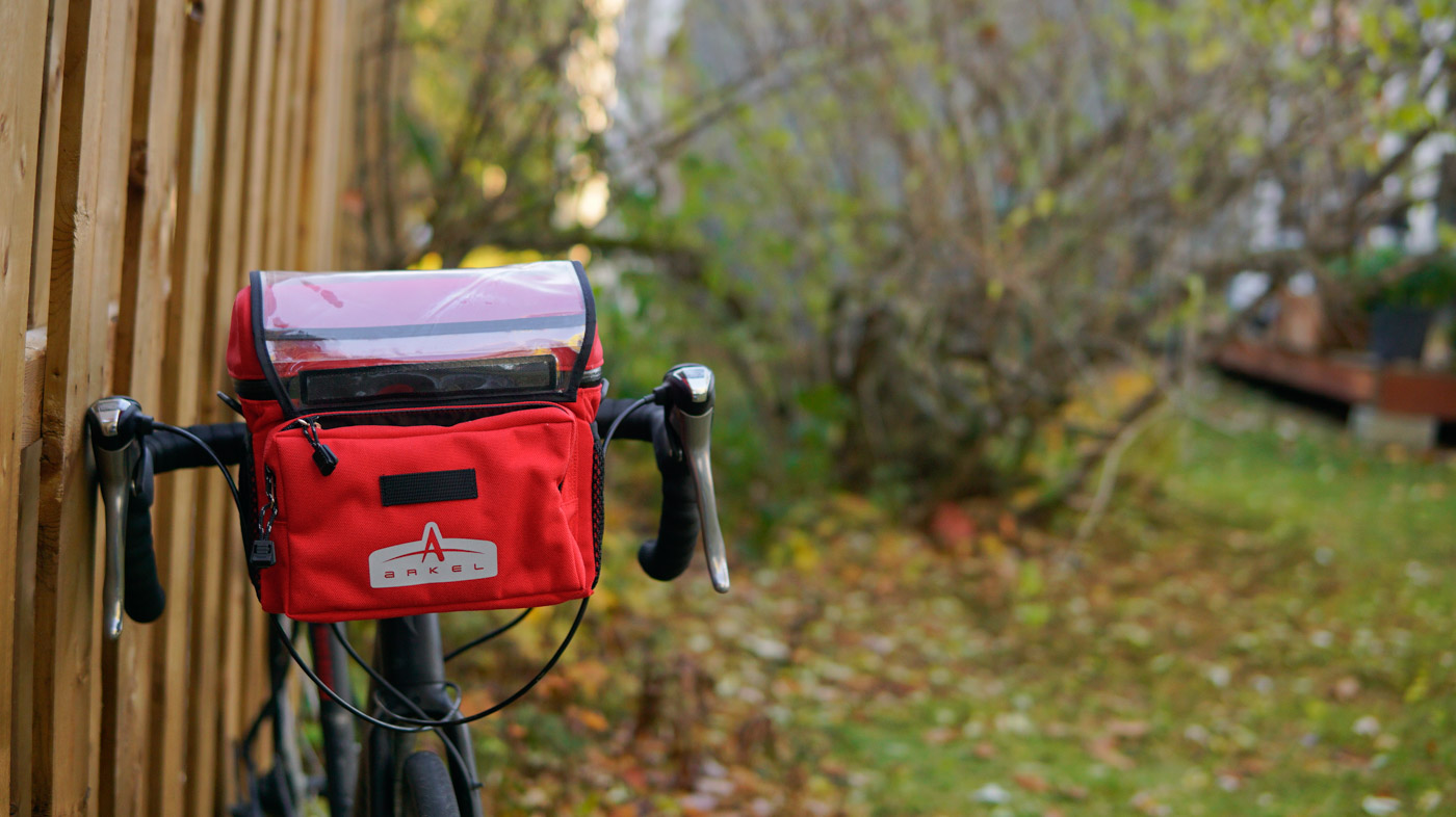 Arkel waterproof classic handlebar bag installed on a gravel bike