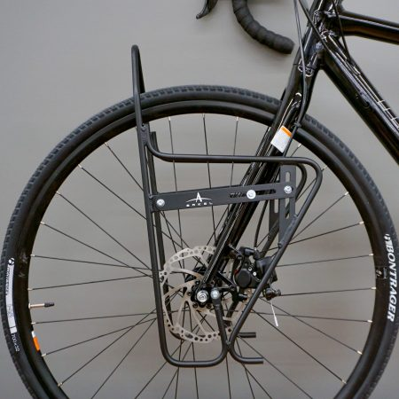 Arkel AC LowRider Classic front rack installed on bike with disc brakes